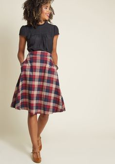 4551ac5d9 Prim Class Hero Midi Skirt in Berry Plaid | ModCloth Business Casual Skirt,  Business Attire