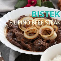 Bistek – Filipino Beef Steak - - Bistek or Bistek Tagalog is a Filipino version of beef steak marinated in soy sauce and kalamansi juice. Try this savory and flavor-rich dish now. Filipino Beef Steak Recipes, Pinoy Food Filipino Dishes, Easy Filipino Recipes, Filipino Desserts, Beef Steak Tagalog Recipe, Easy Steak Recipes, Beef Recipes, Dessert Recipes, Food Cakes