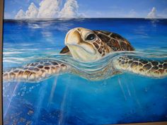 A Peace of the Tropics ~ Fine Art Original Oil Painting ~ Tropical Sea Turtle  by ChristieMarieART, $3,200.00