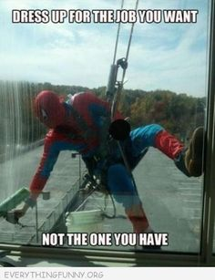 "I can't imagine sitting in my office next to this window and seeing ""Spiderman: The Window Washer"" repelling down! This guy needs an award for creativity and humor! Rofl!"