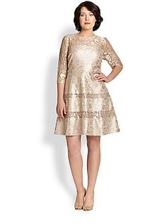 Kay Unger, Sizes 14-24 Lace Fit-And-Flare Dress
