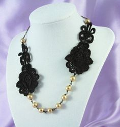 Bridesmaid jewelry Black Lace and Golden Pearls by OliniLaces, $28.00