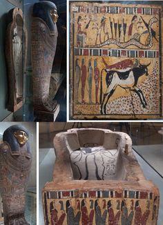 Egyptian sarcophagus tachets, Ancient Egypt.  I.1.a.5302 wood, paint, gilding Golenischev Vladimir Semenovich (1856-1947) - Collector