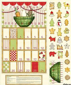 Cookie Count  Advent Calendar Fabric Panel OOP 100% Cotton Christmas Holiday #QuiltingTreasures