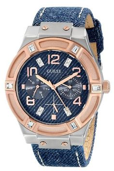 GUESS Womens U0289L1 Silver and Rose GoldTone MultiFunction Watch with Denim Strap ** Find out more about the great product at the image link.