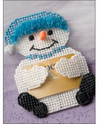Free Plastic Canvas Magnet Patterns | Everything Plastic Canvas - Snowman Gift Card Holder