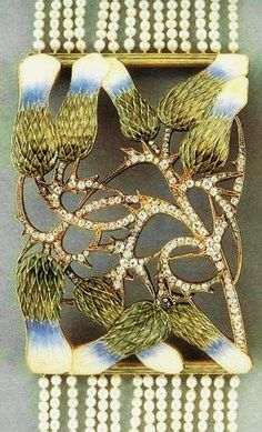 Lalique 1900 signed Dog Collar: diamond/enamel/seed pearls: the central section is a convex open-work panel w/9 olive-green/ blue/ pink/yellow enamel thistle flowers w/pavé-set diamond stems, bor-dered by olive-green enamel bars.  14-row seed pearl band with a diamond clasp, the reverse of panel engraved w/a gold thistle pattern, mounted in gold.  christies.com