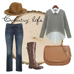 """""""Country"""" by lindseybates on Polyvore featuring Avenue, Silver Jeans Co., MICHAEL Michael Kors, Sole Society, country, women's clothing, women's fashion, women, female and woman"""