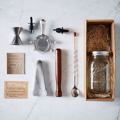 MakersKit Classic Cocktail Kit: Mason jar, Stainless steel strainer, double jigger, hardwood muddler, ice tongs, Stir Spoon, 2 Pour spouts. | West Elm