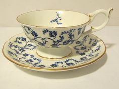 Vintage Blue and White Tea Cup and Plate
