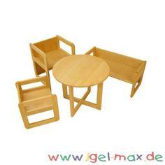 Igel-Max Versand-Kindergartenbedarf für eine fachgerechte Kinderbetreuung. Fachhandel für Kindergartenmöbel, Tagesmutter, KiTa, Kinderhort und Kinderkrippe 2 x Max Kombihocker-Mehrzweckstuhl-Tisch klein Gesamtmaß: B:34 x H:34 x T:34 cm 1 x Max Kombisitzbank-Mehrzweckbank-Tisch klein Gesamtmaß: B:70 x H:34 x T:34 cm 1 x Holztisch-Tisch Max rund Gesamtmaß: Ø 55 cm x Tischhöhe 46 cm Ideal geeignet für Arztpraxen oder Warteräume Artikel zusammengebaut keine Montage notwendig Montage, Playground, Schools, Interior Design, Chair, Furniture, Home Decor, Childcare, Wooden Desk