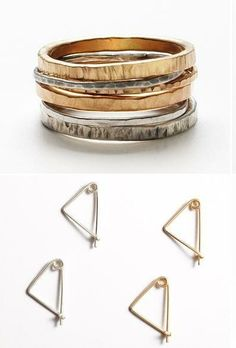 Earrings and rings from Brooklyn-based #jewelry designer Fay Andrada.