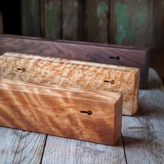 Beautiful handcrafted holder for your good kitchen knives. Thick solid knife racks for the serious home chefs who prefer to keep their best knives away the metal used on magnetic knife holders. Having pets and children in my kitchen I also prefer my carving knives are held securely inside a block like this.  Handcrafted with solid black walnut, a beautiful addition to your kitchen decor both in a contemporary or more rustic kitchen. The width of the holder allows space from the wall for the…
