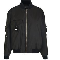 Versus Versace Chest Pocket Bomber Jacket (14,005 MXN) ❤ liked on Polyvore featuring outerwear, jackets, black, collar jacket, bomber jacket, flight jackets, lions jacket and blouson jacket
