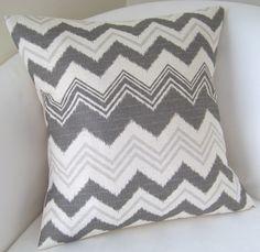 Decorative Pillow Cover Ikat Gray Chevron Pillow Accent Throw Cushion 18x18 Inch Zig Zag. $25.00, via Etsy.