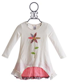 Mimi and Maggie Little Girls Dress with Flower Applique $59.00
