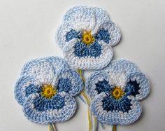 Irish Crochet Pansy Set of 3 Applique Embelishment Decoration Realistic Petals…