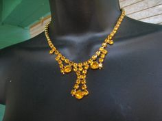 Vintage 50s AMBER Or GOLD RHINESTONE Choker Necklace by Flipsville, $40.00