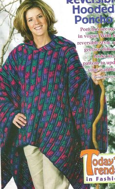 Crochet Crocheting Pattern Cozy Warm Reversible Hooded Poncho