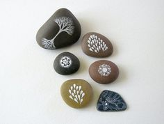 PARIS SALE - Patterned Circle Stone 6 and Droplets 2 - Set of 2 hand-painted beach pebbles - by Natasha Newton