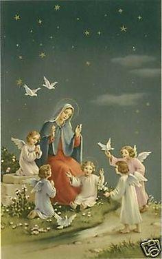 Vintage Catholic LG Holy Card Mary Jesus 4 Angels | eBay