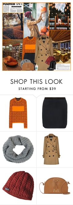 """Pumpkin Spice Style"" by kittyfantastica ❤ liked on Polyvore featuring Versace, Isabel Marant, Barneys New York, Burberry, Patagonia, Vince Camuto and Giuseppe Zanotti"