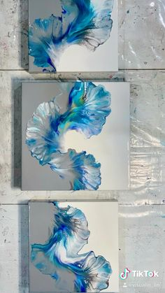 Acrylic Pouring Art, Acrylic Art, Acrylic Painting Canvas, Diy Canvas Art, Diy Wall Art, Blue Painting, Painting & Drawing, Learn Art, Art Projects
