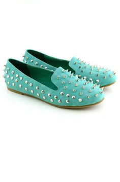 #Mint Green Loafers Studs and Spikes | #shoes  www.offcampusapartmentfinder.com