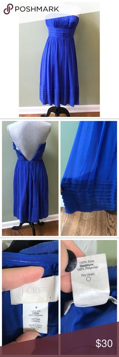J. Crew Juliet strapless Silk Dress Stunning color blue! Excellent condition besides one small pick as seen in photo, zipper works fine (it was just too small for my mannequin), size 0, Silicone lining at bust to prevent slipping, back zipper. J. Crew Dresses Mini