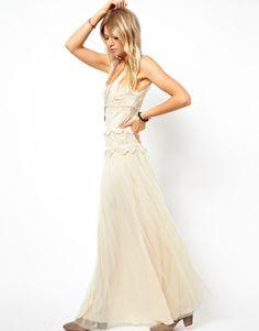 Cream Colored Maxi Dress | Mango Miranda Crochet Maxi Dress in Beige (Cream)