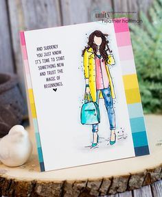 Good morning! Dropping by with a bright and happy card using a recent new Angie girls from Unity Stamp Company - colored with Zig markers,...