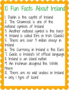 Where to Wednesday: Ireland, Ireland facts for kids, St. Fun Facts About Ireland, Ireland Facts, Fighting Irish, Sant Patrick, St Patrick Day Activities, St Patricks Day Crafts For Kids, Irish Culture, Ireland Culture, Culture Club