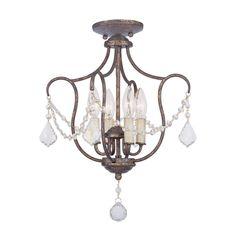Livex Lighting Chesterfield 14-in W Venetian Golden Bronze Shades Semi-Flush Mount Light