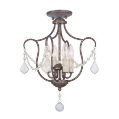 Livex Lighting Chesterfield 14-in W Venetian Golden Bronze Shades Semi-Flush Mount Light