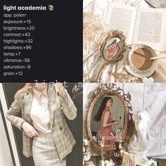 a light academia filter 🤍 Vsco Photography, Photography Filters, Photography Editing, Aesthetic Light, Aesthetic Filter, Aesthetic Photo, Photo Editing Vsco, Instagram Photo Editing, Academia