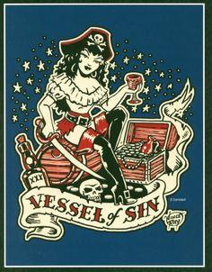 pirate pin-up tattoo
