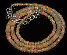 42 CTW 2-5.5 MM 18 NATURAL GENUINE ETHIOPIAN WELO FIRE OPAL BEADS NECKLACE-R6542