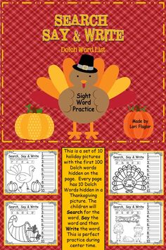First 100 Dolch words hidden in Thanksgiving pictures. It's a fun way to learn basic sight words.