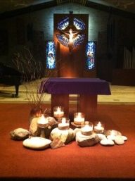 One of my weekly projects is to arrange the flowers for the altar at Church. We don't do flowers for Lent but our committee wanted something to represent the desert or wilderness. Church Altar Decorations, Holy Thursday, Ash Wednesday, Altar Design, Maundy Thursday, Church Stage Design, Church Flowers, Church Banners, Kirchen