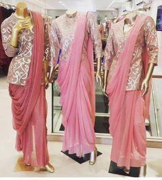 Neeta lulla# saree# jacket # 2016 Saree Draping Styles, Saree Styles, Blouse Styles, Saree Blouse Patterns, Saree Blouse Designs, Lehenga Blouse, Trendy Sarees, Stylish Sarees, Stylish Blouse Design