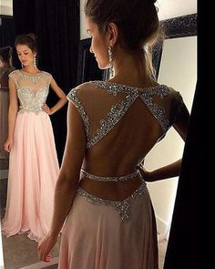 Sexy Backless Pink Prom Dresses Sheer Neck Beaded Chiffon Prom Gowns 2016 Party Evening Dress For Women