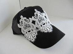 Trucker Hat, Bling Hat, Hats, Womens Cap, Hat, Bling, Baseball Hat, Swarovski Crytsal Cap, Rhinestone Hat, Lace Hat, Womans Trucker Hat on Etsy, $26.00