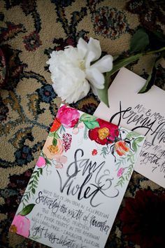Bohemian Inspired Botanicals- Watercolor Illustrations & Calligraphy Wedding Invitation Suite  - by Shannon Kirsten