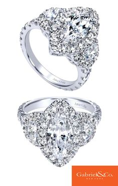 18k White Gold Diamond Halo Engagement Ring by Gabriel & Co.