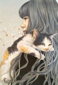 Art Fantaisiste, Found Art, Art Et Illustration, Catgirl, Cat Drawing, Crazy Cats, Cartoon Art, Art Pictures, Photo Art