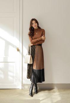Korean Women`s Fashion Shopping Mall, Styleonme. Long Skirt Fashion, Long Skirt Outfits, Modest Fashion, Fashion Dresses, Modest Dresses, Modest Outfits, Classy Outfits, Winter Fashion Outfits, Look Fashion
