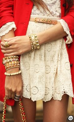 Pretty White Mini-Dress with Red Jacket  & some great bracelets stacked.