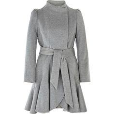 Freya Coat ($120) ❤ liked on Polyvore featuring outerwear, coats, jackets, coats & jackets, women, woolen coat, ruffle wool coat, ruffle coat i wool coat