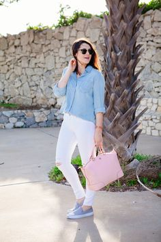 casual cool outfit with slip on sneakers