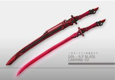 P blade carmine Ninja Weapons, Anime Weapons, Sci Fi Weapons, Armor Concept, Weapon Concept Art, Weapons Guns, Armas Ninja, Swords And Daggers, Knives And Swords